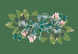 feuillage vert rose