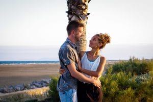 plage palmier Gruissan amoureux